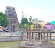 Ancient shrine on a lake chidabaram tamil nadu india Stock Image