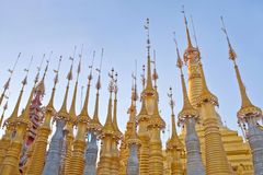 Ancient Shwe Inn Thein Pagoda Complex on Inle lake in Myanmar stock photography