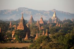 Ancient Shwezigon Pagoda. The many pagodas and stupas across the Bagan landscape were built between 849 and 1287 when there existed a relatively peaceful royalty free stock image