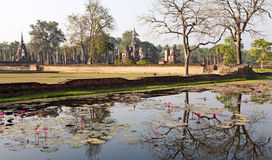 Ancient Siamese Ruins Reflected. Ancient ruins in the the city of Sukothai in central Thailand where the Siam capital once was Royalty Free Stock Images
