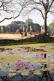 Ancient Siamese Ruins Reflected. Ancient ruins in the the city of Sukothai in northern Thailand where the Siam capital once was Royalty Free Stock Image