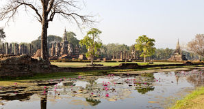 Ancient Siamese Ruins Reflected. Ancient ruins in the the city of Sukothai in northern Thailand where the Siam capital once was Stock Images