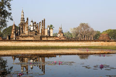 Ancient Siamese Ruins Reflected. Ancient ruins in the the city of Sukothai in northern Thailand where the Siam capital once was Stock Photo