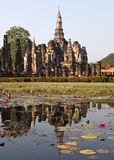 Ancient Siamese Ruins Reflected. Ancient ruins in the the city of Sukothai in northern Thailand where the Siam capital once was Royalty Free Stock Photos