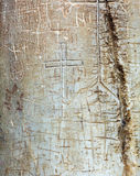 Ancient Signs on Column  of Holy Sepulcher Cathedral in Jerusale Royalty Free Stock Image