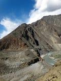 The Ancient Silk Road of Karakoram Highway Mountai. Karakoram highway mountain range and its ancient silk road in Pakistan Royalty Free Stock Image