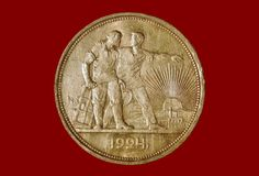 Ancient silver coin 1 ruble 1924 on a red background Royalty Free Stock Photos