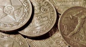 Ancient silver coins Stock Images