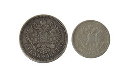 An ancient silver coins, Russian Empire during the reign of Nicholay 2 Royalty Free Stock Images
