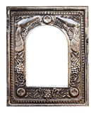 Ancient silver frame isolated Stock Images