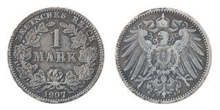 Ancient silver German coin. Stock Photos