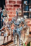 Ancient Silver Knight toy model stock photo
