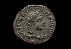 Ancient silver roman coin with portrait of emperor Royalty Free Stock Image