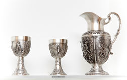 Ancient silver tableware Royalty Free Stock Photo