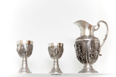 Ancient silver tableware Royalty Free Stock Photography