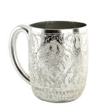 Ancient silver tableware cup. Of Thailand Royalty Free Stock Image