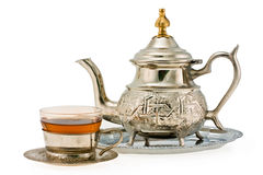 Ancient silver teapot and cup to tea Stock Photos