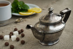 Ancient silver teapot Stock Image