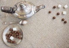 Ancient silver teapot Stock Photo