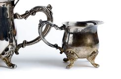 Ancient silverware, for tea. stock image
