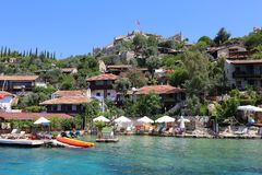 Ancient Simena Village with Houses,Restaurants and Simena Castle Royalty Free Stock Photo