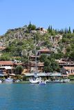 Ancient Simena Village with Houses and Yacht Royalty Free Stock Images