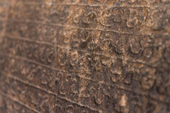 Ancient Sinhalese writing chiseled on stone Royalty Free Stock Photography