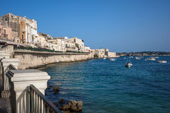 Ancient Siracusa city during sunset, Sicily island Stock Photography