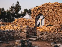 The ancient site at Aliki, the marble port ruins in Thasos Island, Greece stock image
