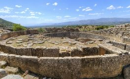 Ancient site of Mycenae, Greece. The historical site of Mycenae, in Greece. A view of some of the ancient ruins found during the excavations of the historic site Stock Photos