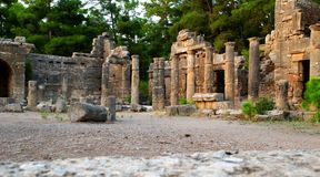 Ancient site of Side. Ancient site and ruins of Side, a Hellenistic city founded in 3rd century BC near Antalya, Turkey Royalty Free Stock Image