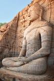 Ancient sitting Buddha image royalty free stock photography