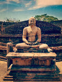 Ancient sitting Buddha image Stock Images