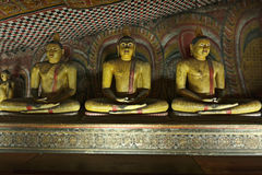 Ancient sitting Buddha images royalty free stock photography