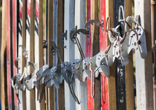 Ancient skis closeup Stock Images