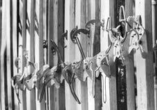 Ancient skis closeup Royalty Free Stock Photo