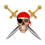 Ancient skull with two sword Royalty Free Stock Photos