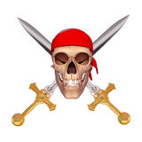 Ancient skull with two sword Stock Image