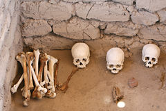 Ancient Skulls. Skulls and bones in Chauchilla, an ancient cemetery in the desert of Nazca, Peru. The remains of many Royalty Free Stock Images