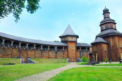 Ancient Slavonic fortress in Baturyn town. Baturyn / Ukraine. 22 July 2017: Baturyn Citadel the Cossack Hetmanate. Ancient Slavonic architecture of Baturyn Royalty Free Stock Image