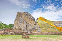 Ancient sleeping buddha statue Royalty Free Stock Photo