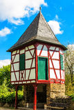 Ancient small customs tower on the banks of Main River in Hanau-Steinheim, Germany. Ancient small customs turrets on the banks of Main River in Hanau-Steinheim Stock Photography