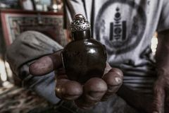 Ancient Sniff bottle from a Mongolian Nomad Stock Photography