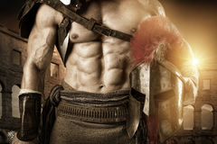 Ancient soldier or Gladiator. Ancient warrior or Gladiator posing in the arena Stock Images