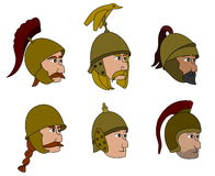 Ancient soldiers faces cartoons stock images