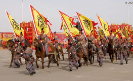 Ancient soldiers simulation. China's lunar New Year, a national ancient dress soldiers on the streets, the entertainment in ancient costume soldiers simulation Stock Photo