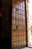 Ancient solid wood door Stock Photo
