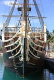 Ancient Spanish Galleon. Replica in Harbor Royalty Free Stock Images