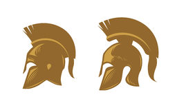 Ancient spartan helmet with feathered crest. Vector icons or symbols Stock Image