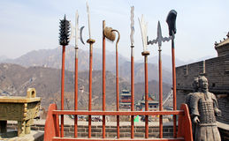 Ancient spears and soldiers on Great Wall(China) royalty free stock photos